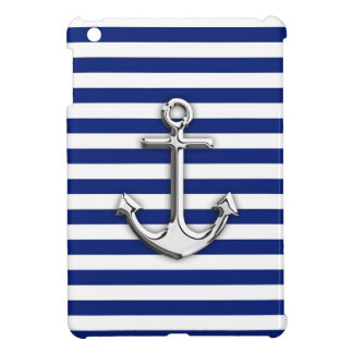 Chrome Anchor on Navy Stripes iPad Mini Case