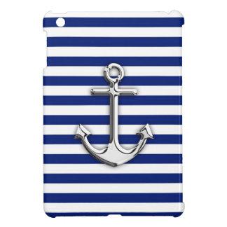 Chrome Anchor on Navy Stripes iPad Mini Covers