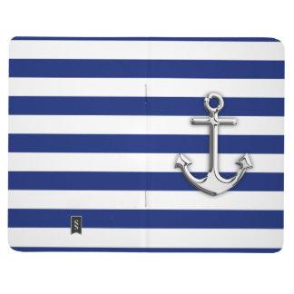 Chrome Anchor on Navy Stripes Journals
