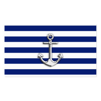 Chrome Anchor on Navy Stripes Pack Of Standard Business Cards