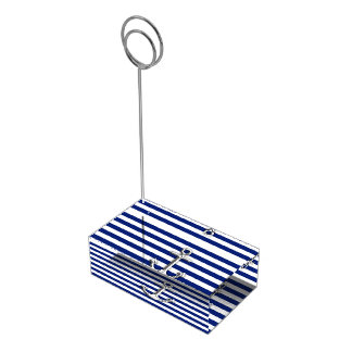 Chrome Anchor on Navy Stripes Place Card Holder