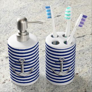 Chrome Anchor on Navy Stripes Print Bathroom Set