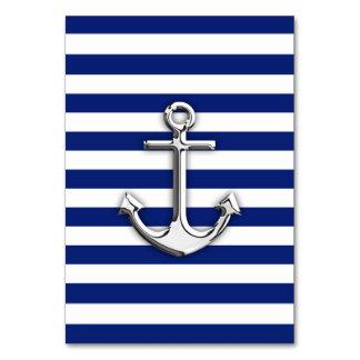 Chrome Anchor on Navy Stripes Table Cards