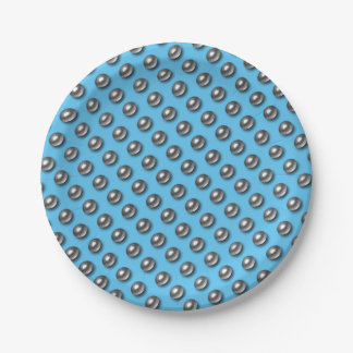 Chrome Balls on Blue Paper Plate