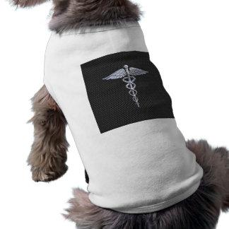 Chrome Caduceus Medical Symbol Carbon Fiber Decor Sleeveless Dog Shirt