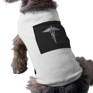Chrome Caduceus Medical Symbol Carbon Fiber Print Sleeveless Dog Shirt