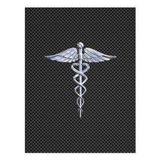 Chrome Caduceus Medical Symbol Carbon Fiber Print Postcard