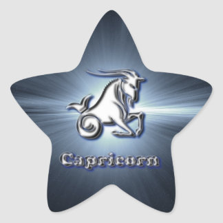 Chrome Capricorn Star Sticker
