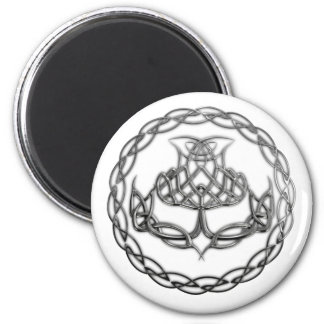 Chrome Celtic Knot Thistle 6 Cm Round Magnet