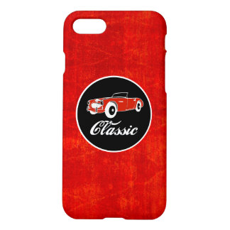 Chrome Classic Red Retro Vintage Convertible Car iPhone 7 Case