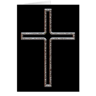Chrome Crucifix Hollow Greeting Card
