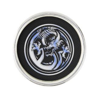 Chrome Dragon Crest dark Carbon Fiber Print Lapel Pin
