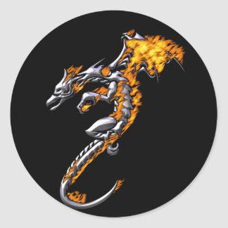 Chrome Dragon with Flames Classic Round Sticker