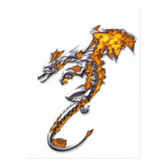 Chrome Dragon with Flames Postcard