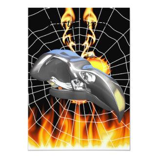 "Chrome eagle skull design 1 with fire and web 5"" x 7"" invitation card"