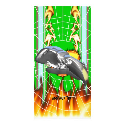 Chrome eagle skull design 1 with fire and web customized photo card