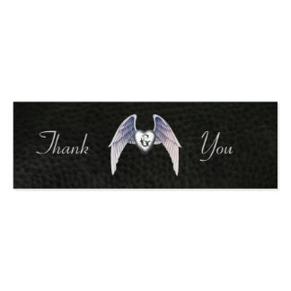 Chrome & Faux Leather Winged Heart Favor Tags Pack Of Skinny Business Cards