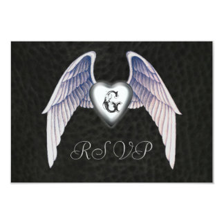 Chrome & Faux Leather Winged Heart RSVP Invitation