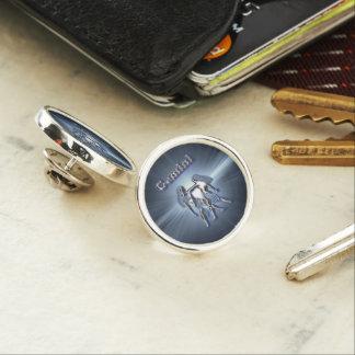 Chrome Gemini Lapel Pin