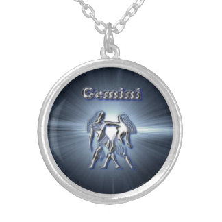 Chrome Gemini Silver Plated Necklace