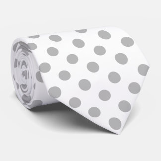 Chrome Grey Polka Dots Circles Tie