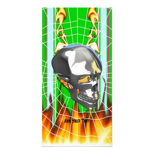 Chrome human skull design 1 with fire and web customized photo card