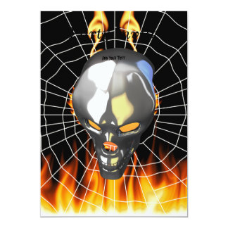 Chrome human skull design 2 with fire and web invitation