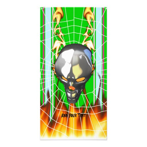 Chrome human skull design 2 with fire and web photo card template