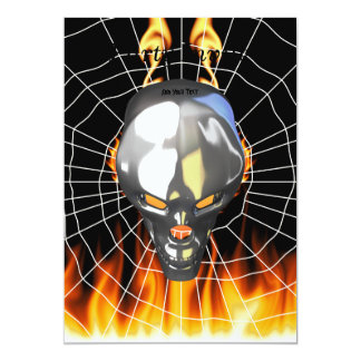 """Chrome human skull design 3 with fire and web 5"""" x 7"""" invitation card"""