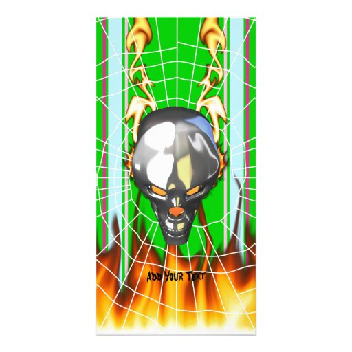 Chrome human skull design 3 with fire and web personalized photo card