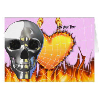 Chrome human skull design 4 with fire and web card