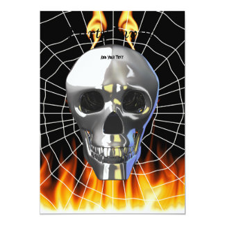 """Chrome human skull design 4 with fire and web. 5"""" x 7"""" invitation card"""