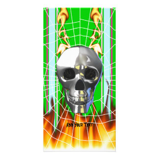 Chrome human skull design 4 with fire and web customized photo card