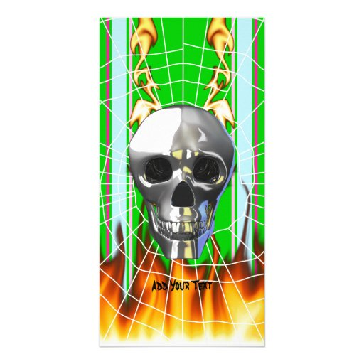 Chrome human skull design 4 with fire and web. customized photo card