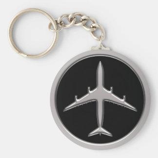 Chrome Jet Airplane Key Ring