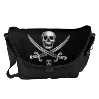 Chrome Jolly Roger Courier Bag