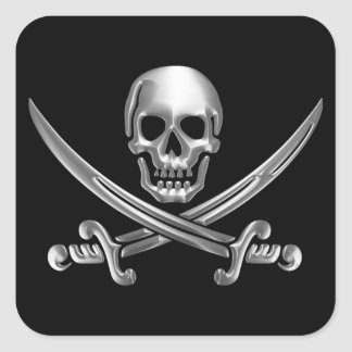 Chrome Jolly Roger Square Sticker