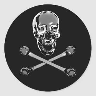 Chrome Jolly Roger Round Stickers