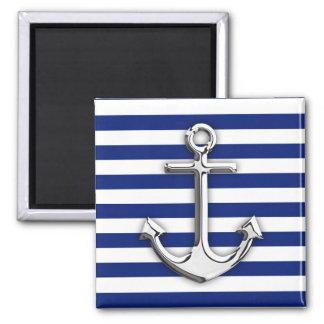 Chrome Like Anchor Design on Navy Stripes Square Magnet