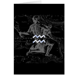Chrome like Aquarius Zodiac Sign on Hevelius Greeting Card