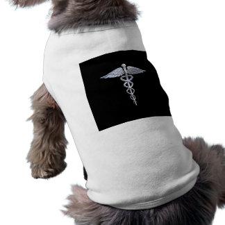 Chrome Like Caduceus Medical Symbol Sleeveless Dog Shirt