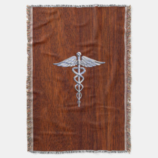 Chrome Like Caduceus Medical Symbol Mahogany Style Throw Blanket
