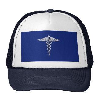 Chrome Like Caduceus Medical Symbol on Blue Decor Cap