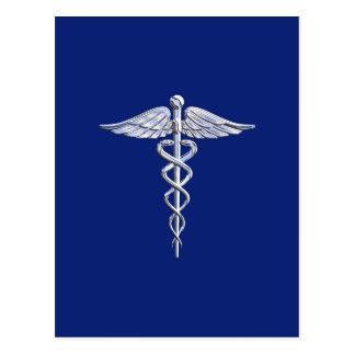 Chrome Like Caduceus Medical Symbol on Navy Blue Postcard