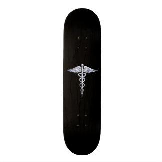 Chrome Like Caduceus Medical Symbol Skate Board