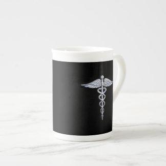 Chrome Like Caduceus Medical Symbol Tea Cup
