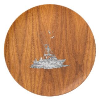 Chrome Like Fishing Boat on Teak Wood Dinner Plates