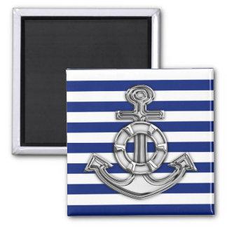 Chrome Like Lifesaver on Nautical Stripes Square Magnet
