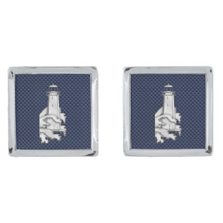 Chrome Like Lighthouse Nautical Navy Blue Carbon Silver Finish Cufflinks