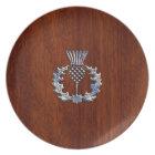 Chrome Like Mahogany Wood Grain Scottish Thistle Plate